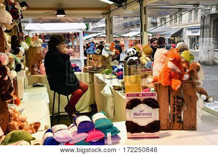 Rouen France - november 26 2016 : the christmas market in from of the cathedral