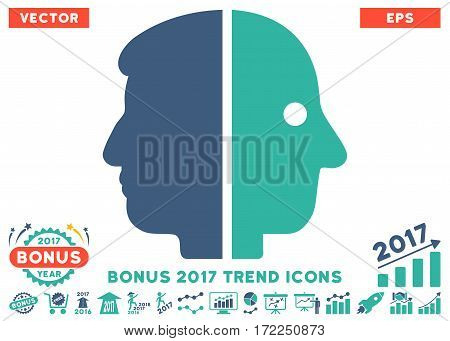 Cobalt And Cyan Dual Face pictograph with bonus 2017 year trend images. Vector illustration style is flat iconic bicolor symbols white background.
