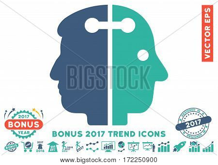 Cobalt And Cyan Dual Head Connection icon with bonus 2017 trend pictograph collection. Vector illustration style is flat iconic bicolor symbols white background.
