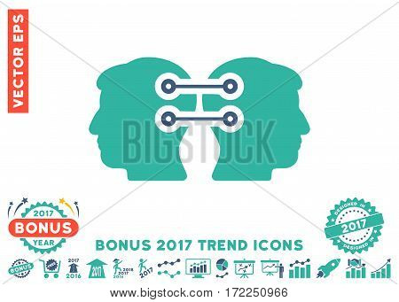 Cobalt And Cyan Dual Heads Interface Connection icon with bonus 2017 trend clip art. Vector illustration style is flat iconic bicolor symbols white background.