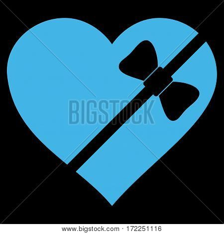 Tied Love Heart flat icon. Vector blue symbol. Pictogram is isolated on a black background. Trendy flat style illustration for web site design logo ads apps user interface.