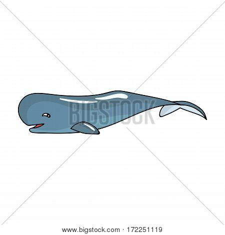 Sperm whale icon in cartoon design isolated on white background. Sea animals symbol stock vector illustration.