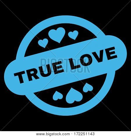 True Love Stamp Seal flat icon. Vector blue symbol. Pictograph is isolated on a black background. Trendy flat style illustration for web site design logo ads apps user interface.