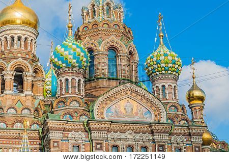 Saint Petersburg Russia - Cathedral of Our Savior on Spilled Blood - closeup of facade and domes in Saint Petersburg, Russia. Architecture landscape of Saint Petersburg, Russia