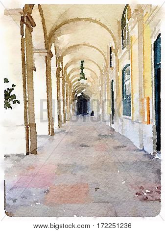 Digital watercolor painting of outdoor archway in Lisbon Portugal. With space for text.