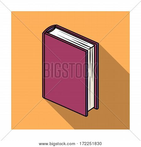 Purple standing book icon in flat design isolated on white background. Books symbol stock vector illustration.