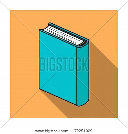 Blue standing book icon in flat design isolated on white background. Books symbol stock vector illustration.