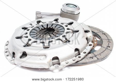 Brand new clutch kit on the white background