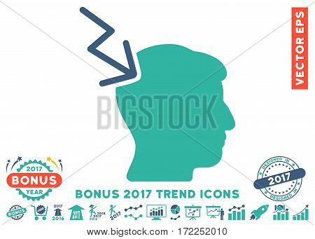 Cobalt And Cyan Head Electric Strike pictogram with bonus 2017 year trend pictograms. Vector illustration style is flat iconic bicolor symbols white background.