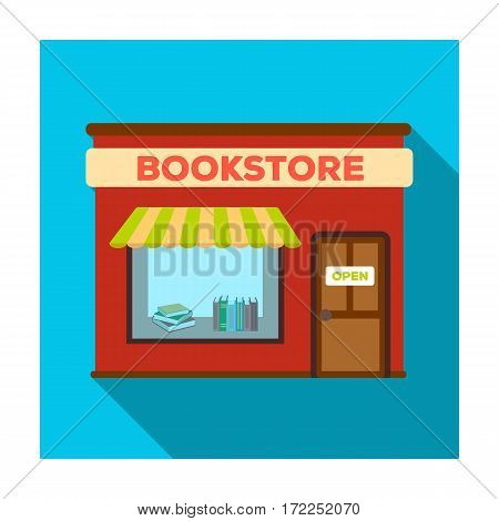 Bookstore icon in flat design isolated on white background. Library and bookstore symbol stock vector illustration.