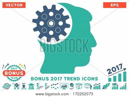 Cobalt And Cyan Head Gear pictograph with bonus 2017 trend pictograph collection. Vector illustration style is flat iconic bicolor symbols white background.