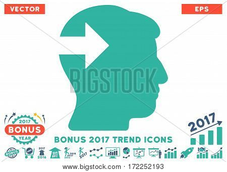 Cobalt And Cyan Head Plug-In Arrow icon with bonus 2017 trend pictures. Vector illustration style is flat iconic bicolor symbols white background.