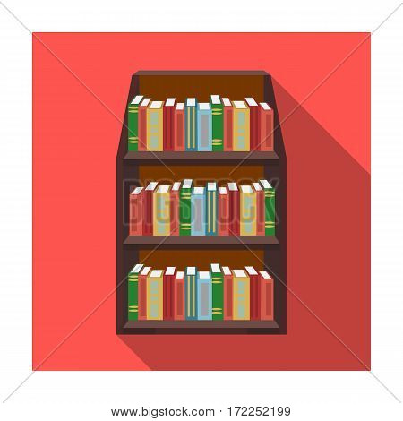 Bookcase icon in flat design isolated on white background. Library and bookstore symbol stock vector illustration.