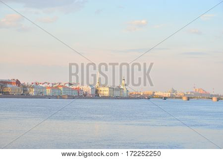 University Embankment and the Neva River at evening in St.Petersburg Russia.