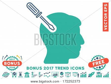 Cobalt And Cyan Head Surgery Screwdriver pictogram with bonus 2017 year trend pictograms. Vector illustration style is flat iconic bicolor symbols white background.