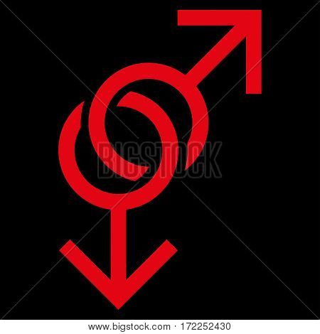 Gay Love Symbol flat icon. Vector red symbol. Pictograph is isolated on a black background. Trendy flat style illustration for web site design logo ads apps user interface.