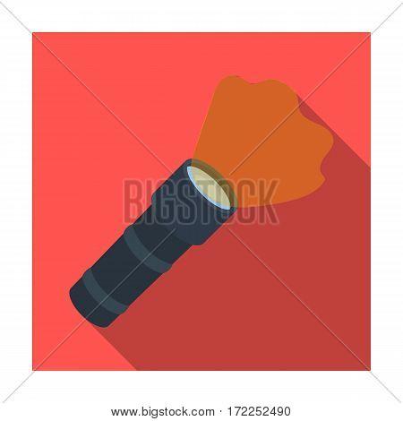 Flashlight icon in flat design isolated on white background. Police symbol stock vector illustration.