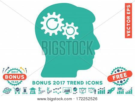 Cobalt And Cyan Head Wheels Rotation icon with bonus 2017 trend pictures. Vector illustration style is flat iconic bicolor symbols white background.