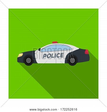 Police car icon in flat design isolated on white background. Police symbol stock vector illustration.