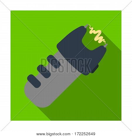 Taser icon in flat design isolated on white background. Police symbol stock vector illustration.