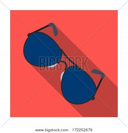 Aviator sunglasses icon in flat design isolated on white background. Police symbol stock vector illustration.