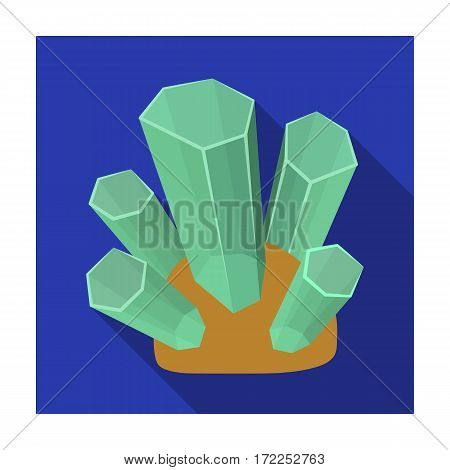 Green natural minerals icon in flat design isolated on white background. Precious minerals and jeweler symbol stock vector illustration.