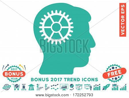 Cobalt And Cyan Intellect Cog icon with bonus 2017 trend elements. Vector illustration style is flat iconic bicolor symbols white background.