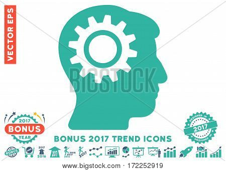Cobalt And Cyan Intellect Gear pictogram with bonus 2017 trend icon set. Vector illustration style is flat iconic bicolor symbols white background.