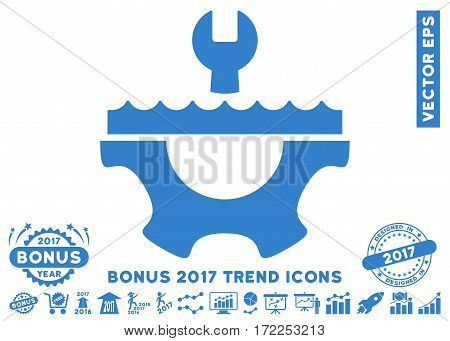 Cobalt Water Service Gear pictograph with bonus 2017 trend pictograph collection. Vector illustration style is flat iconic symbols white background.
