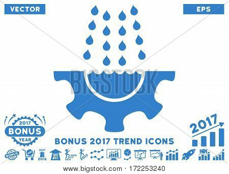 Cobalt Water Shower Service Gear icon with bonus 2017 year trend icon set. Vector illustration style is flat iconic symbols white background.