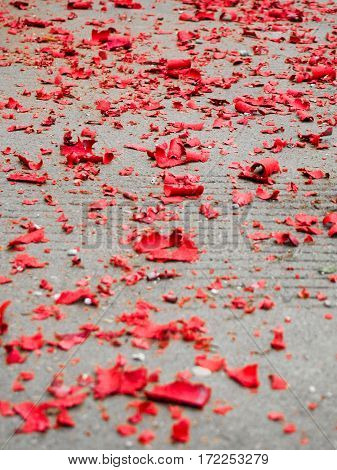 Red Scraps Of Fireworks Paper From Chinese New Year
