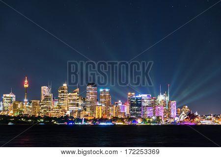 Sydney Cityscape At Night During Vivid Sydney Light Festival