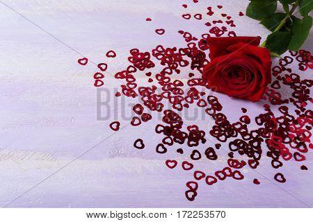 Burgundy rose and St. Valentine Day symbols on lilac background. Elegant wedding invitation or greeting card. Copy space.