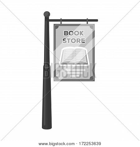 Bookstore signage icon in monochrome design isolated on white background. Library and bookstore symbol stock vector illustration.