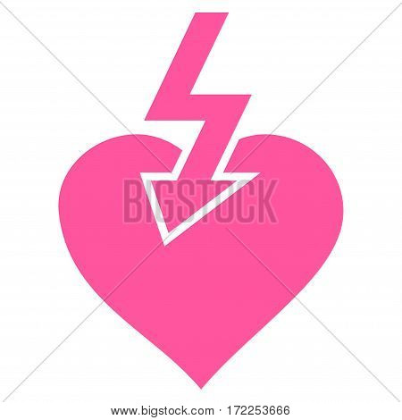 Heart Shock Strike flat icon. Vector pink symbol. Pictograph is isolated on a white background. Trendy flat style illustration for web site design logo ads apps user interface.