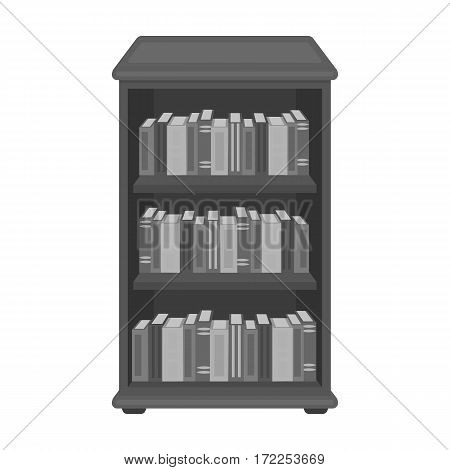 Bookcase with books icon in monochrome design isolated on white background. Library and bookstore symbol stock vector illustration.