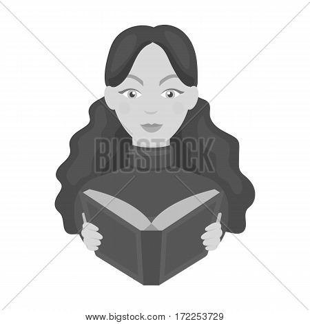 Librarian icon in monochrome design isolated on white background. Library and bookstore symbol stock vector illustration.