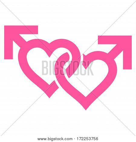 Linked Gay Hearts flat icon. Vector pink symbol. Pictograph is isolated on a white background. Trendy flat style illustration for web site design logo ads apps user interface.