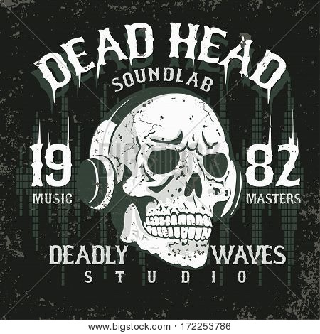 Skull with headphones, Hand drawn sketchy t-shirt design, dead head vintage music tee graphics. vector