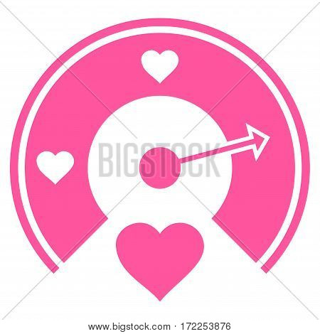 Love Gauge flat icon. Vector pink symbol. Pictograph is isolated on a white background. Trendy flat style illustration for web site design logo ads apps user interface.