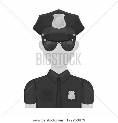 Police officer icon in monochrome design isolated on white background. Police symbol stock vector illustration.