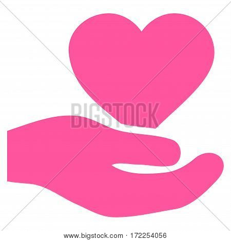 Love Heart Offer Hand flat icon. Vector pink symbol. Pictograph is isolated on a white background. Trendy flat style illustration for web site design logo ads apps user interface.