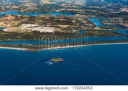 Aerial View Of Cook Island And Fingal Head Aquatic Reserve