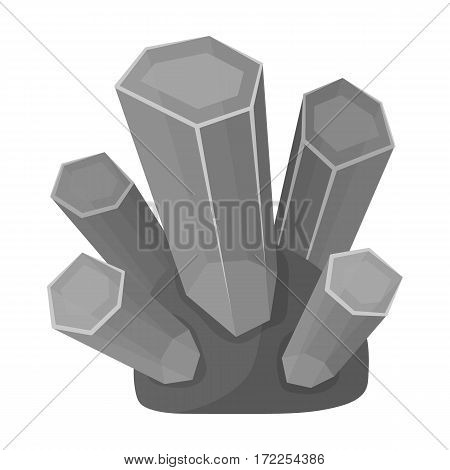 Green natural minerals icon in monochrome design isolated on white background. Precious minerals and jeweler symbol stock vector illustration.