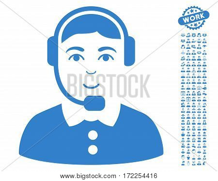 Call Center Operator pictograph with bonus men pictograms. Vector illustration style is flat iconic cobalt symbols on white background.
