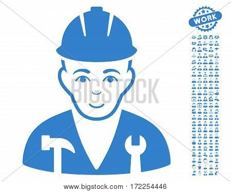 Serviceman pictograph with bonus avatar symbols. Vector illustration style is flat iconic cobalt symbols on white background.