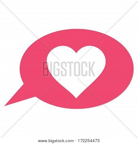 Love Message Balloon flat icon. Vector pink symbol. Pictograph is isolated on a white background. Trendy flat style illustration for web site design logo ads apps user interface.