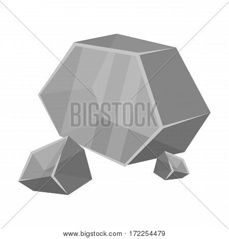 Purple rough gemstone icon in monochrome design isolated on white background. Precious minerals and jeweler symbol stock vector illustration.