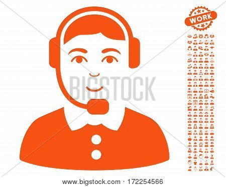 Call Center Operator icon with bonus human icon set. Vector illustration style is flat iconic orange symbols on white background.