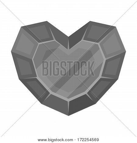 Heart-shaped gemstone icon in monochrome design isolated on white background. Precious minerals and jeweler symbol stock vector illustration.